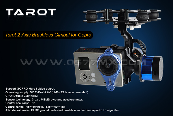 Two-axis brushless over TAROT Gopro PTZ / PTZ gyro TL68A00 containing